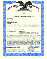 Certificate of Registration USA